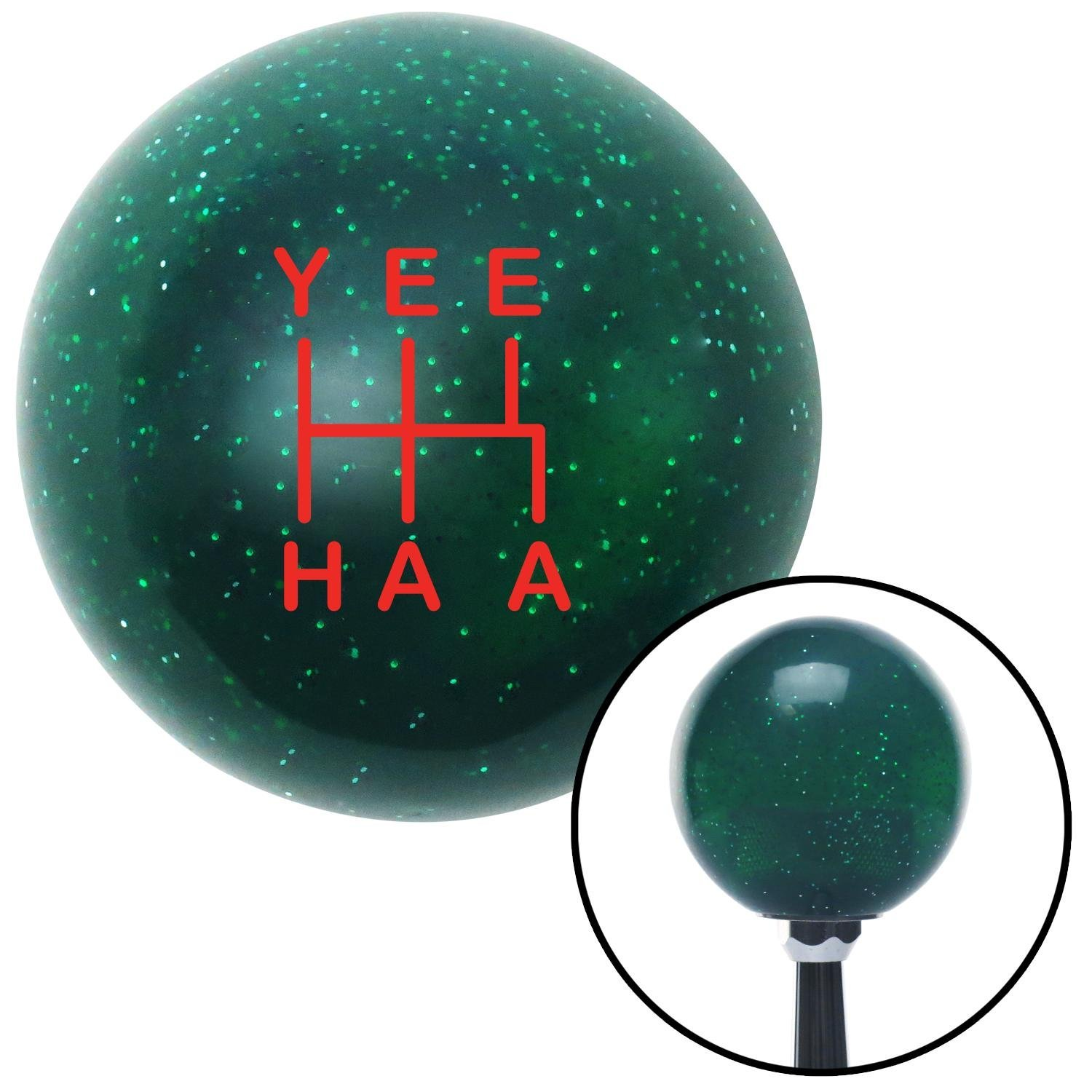 Red YeeHaa 5 Speed Green Metal Flake American Shifter 301273 Shift Knob