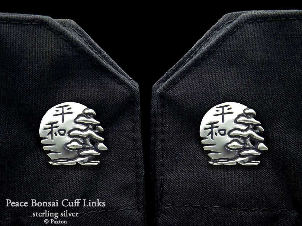 Peace Bonsai with Sun Cuff Links in Solid Sterling Silver Hand Carved & Cast by Paxton