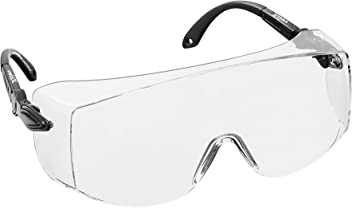 voltX 'OVERSPECS' Large Size, Industrial Safety Over Glasses - CE EN166f certified (Clear Lens) - individually adjustable temples - antifog, scratch resistant, UV385 protection