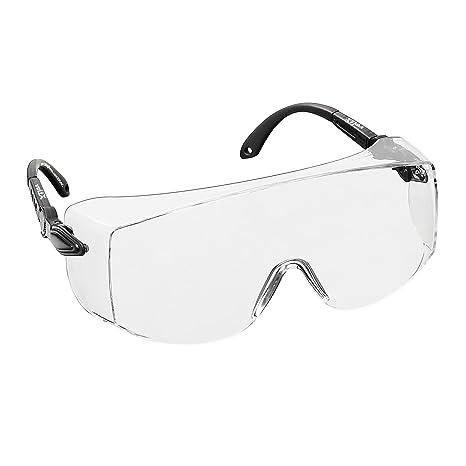 voltX 'OVERSPECS' Occhiali di sicurezza per uso industriale dotati di certificazione CE EN166F (lenti trasparenti) aste regolabili singolarmente, anti-nebbia, resistenti ai graffi, protezione UV / Safety Glasses