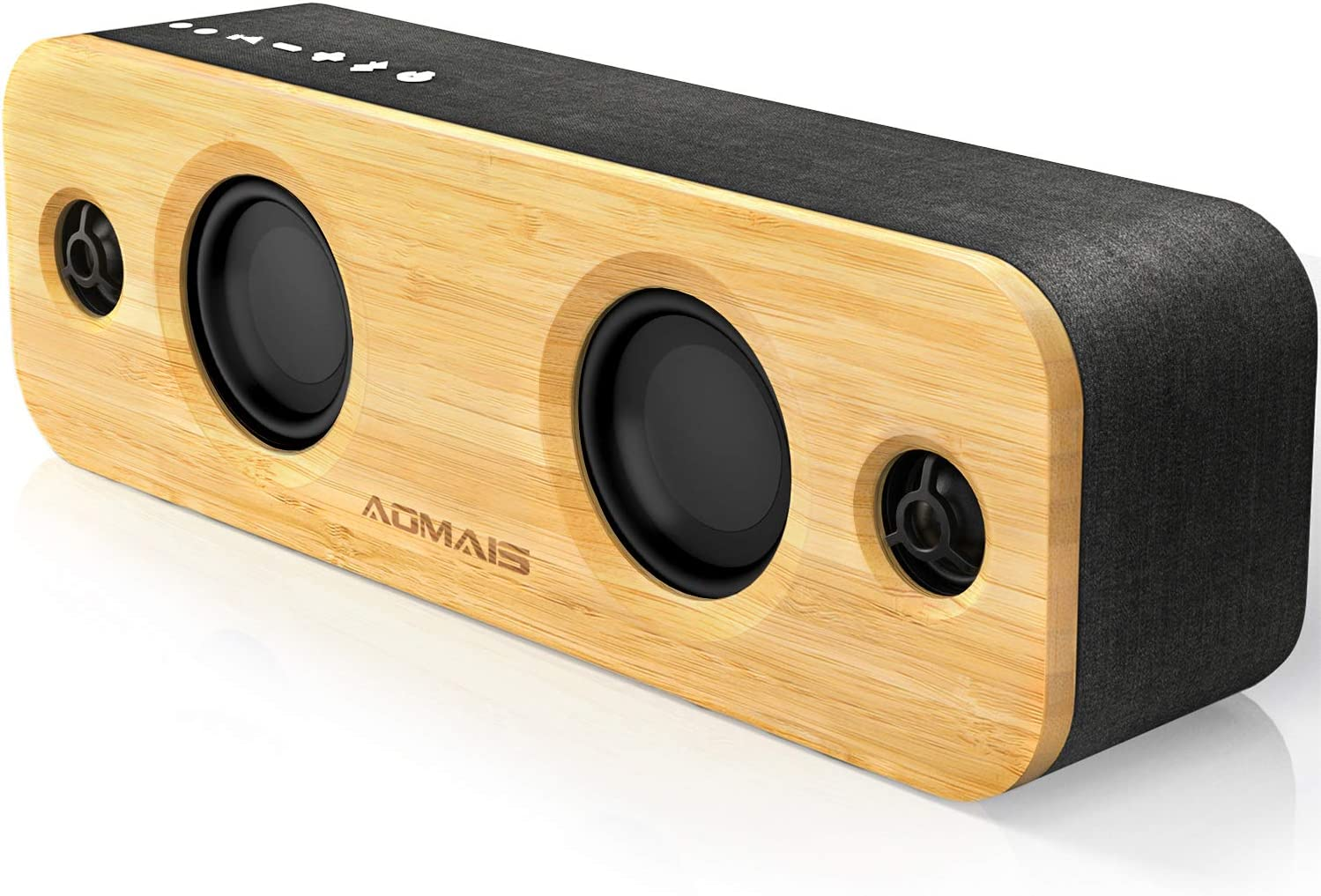 AOMAIS Life Bluetooth Speakers, 30W Loud Home Party Wireless Speaker, 2 Woofer & 2 Tweeters for Super Bass Stereo Sound, 100 Ft Bluetooth V5.0 and 12-Hour Playtime Subwoofer - Imitation Bamboo Panel