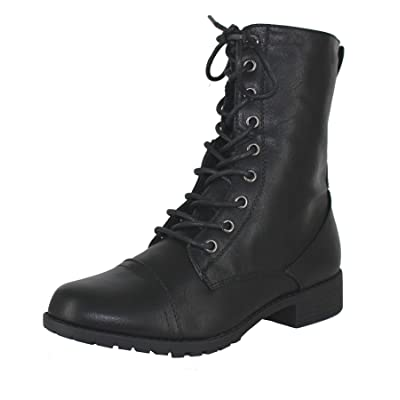 Forever Link Womens Round Toe Military Lace up Knit Ankle Cuff Low Heel Combat Boots | Ankle & Bootie