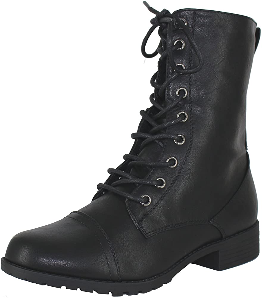 Knit Ankle Cuff Low Heel Combat Boots