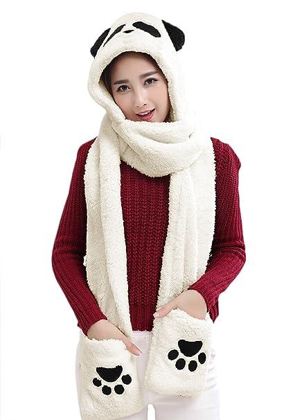 Women Ladies Girls Cute Panda Full Animal Hood Hoodie Hats Caps Beanies  Winter Warm Soft Plush 4d82cf11ec8