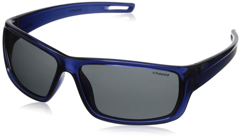 Polaroid Sunglasses P0423S Polarized Wrap Sunglasses Blue & Gray Polarized 57 mm