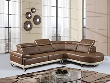 Global Furniture U7730   SECTIONAL 2 Piece Pluto Sectional, Walnut/Pearl