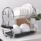 Best Commercial Rust Proof Kitchen In Sink Two Tier Dish Drying Rack, Chrome Dish Rack With White Drainboard