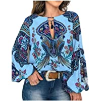 RkYAO Women Keyhole Flare Sleeve Blouse Floral Long-Sleeve Casual Shirt