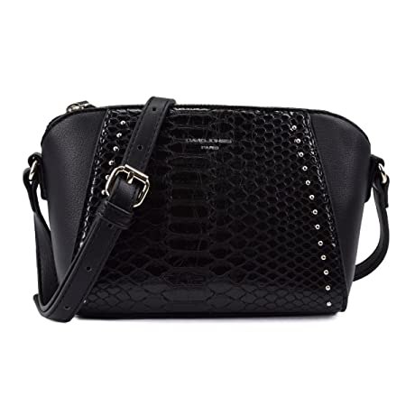 ... David Jones - Womens Small Trapeze Crossbody Bag - Quilted Snake Skin  PU Leather Shoulder Bag ... 01e2d945569ec
