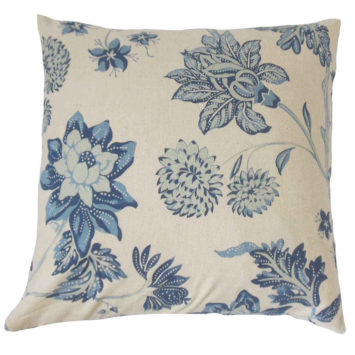 The Pillow Collection KING-LCR-THAI-BUE-C100 Mairead Floral Bedding Sham, King/20'' x 36'', Blue by The Pillow Collection