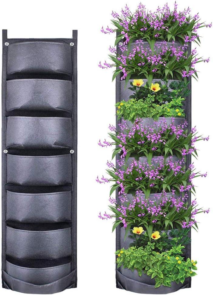Yuccer Jardinera Vertical 7 Bolsillo Jardín Vertical para Plantas Macetero de Pared para Decoración de Interiores o al Exterior (Negro)