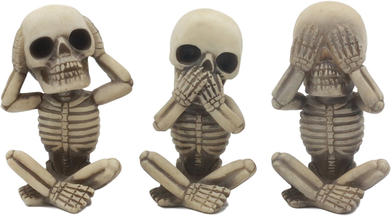 "Ebros Gothic Alchemy Whimsical See Hear Speak No Evil Baby Skeletons Statue Set of Three 4.25"" High Halloween Decor Ossuary Graveyard Skeletal Figurines"