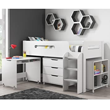 ae2d76f07b1c Dynamo White Cabin Bed Midsleeper + Ladder Can Be Fitted Either Side! +  Storage With