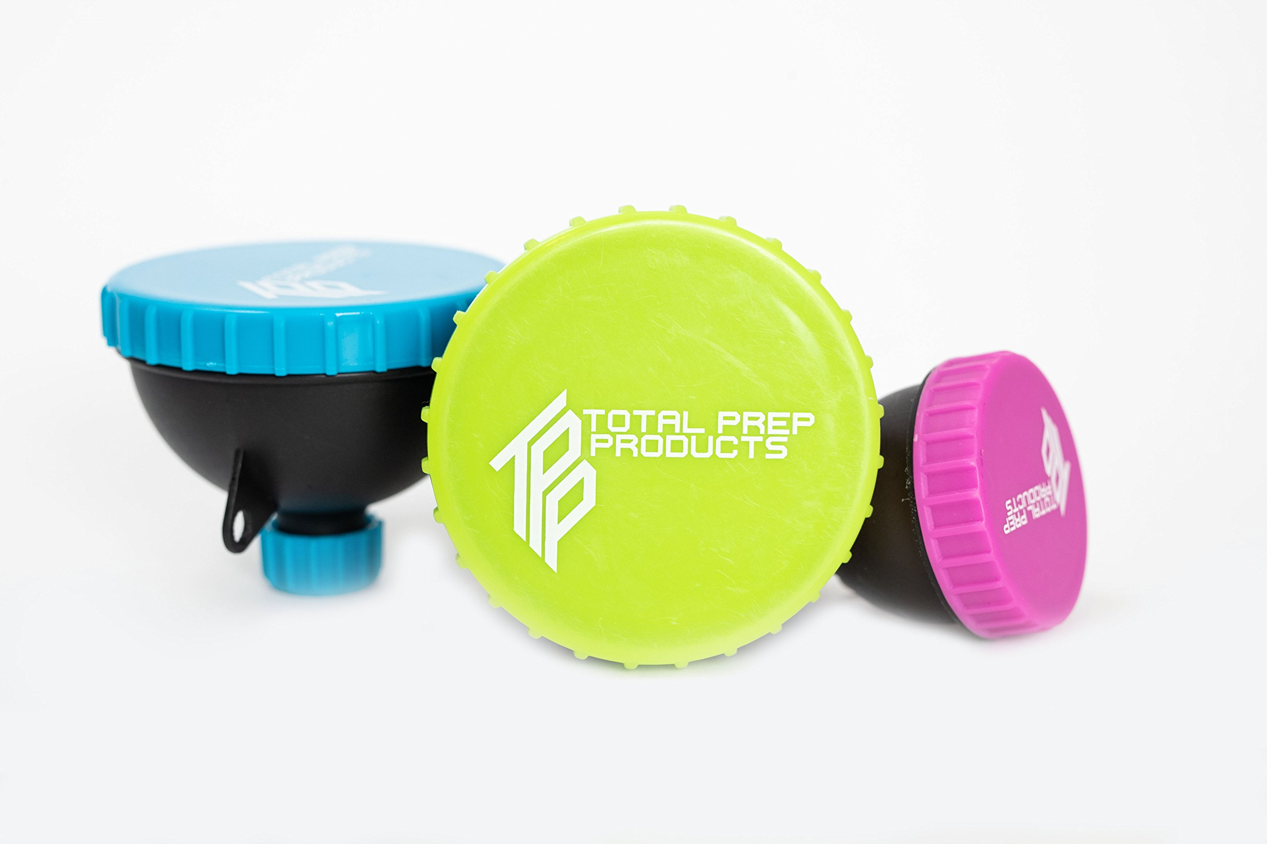 Total Prep Products Portable Protein Funnel BPA Free Non Toxic 3 Pack Multiple Colors by Total Prep Products (Image #1)