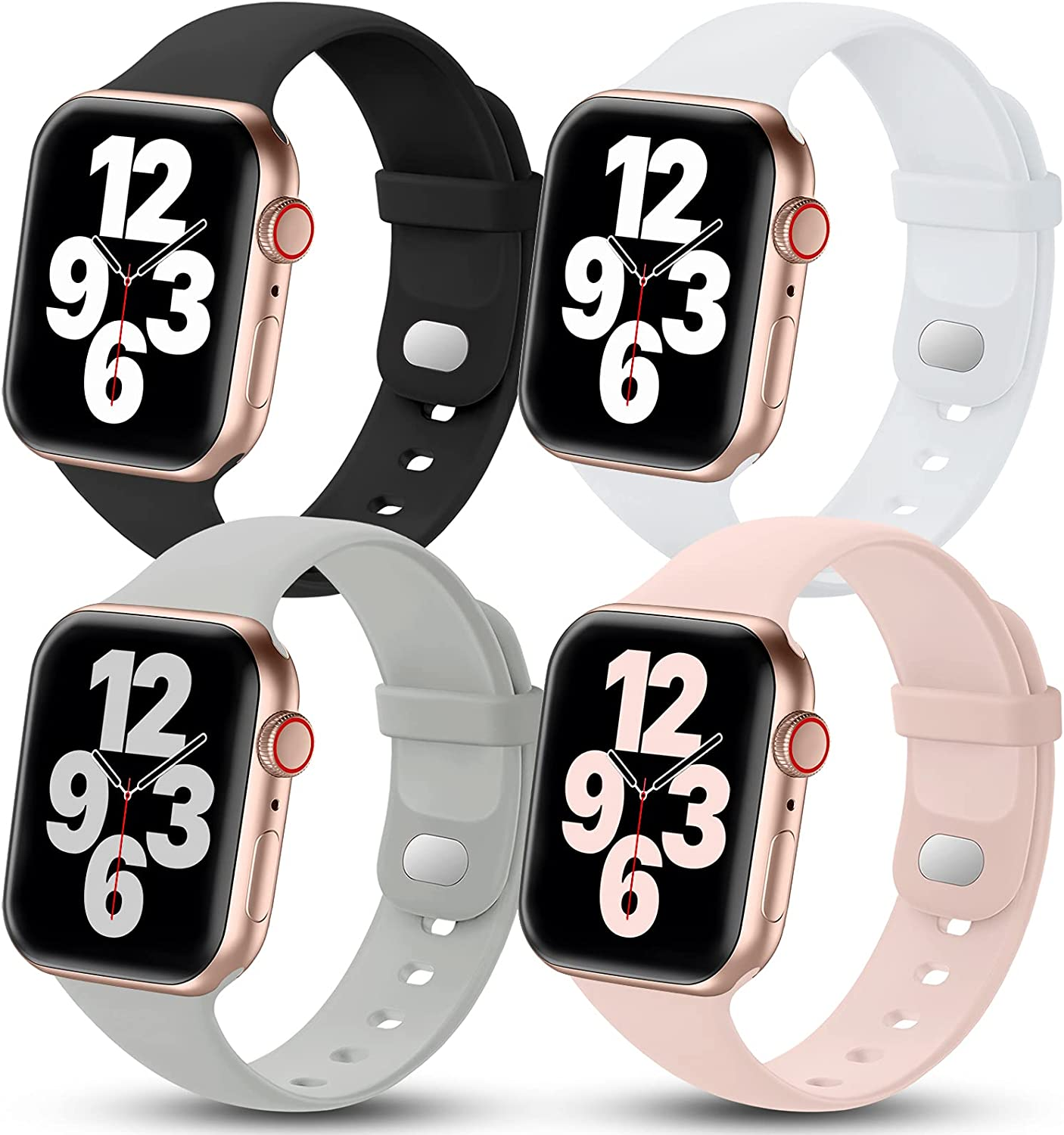 4 Pack GEAK Compatible with Apple Watch Band 40mm, iWatch 38mm Bands Womens, Soft Sport Silicone Replacement Strap for iWatch Series SE 6 5 4 3 2 1, Black/Pink/White/Gray