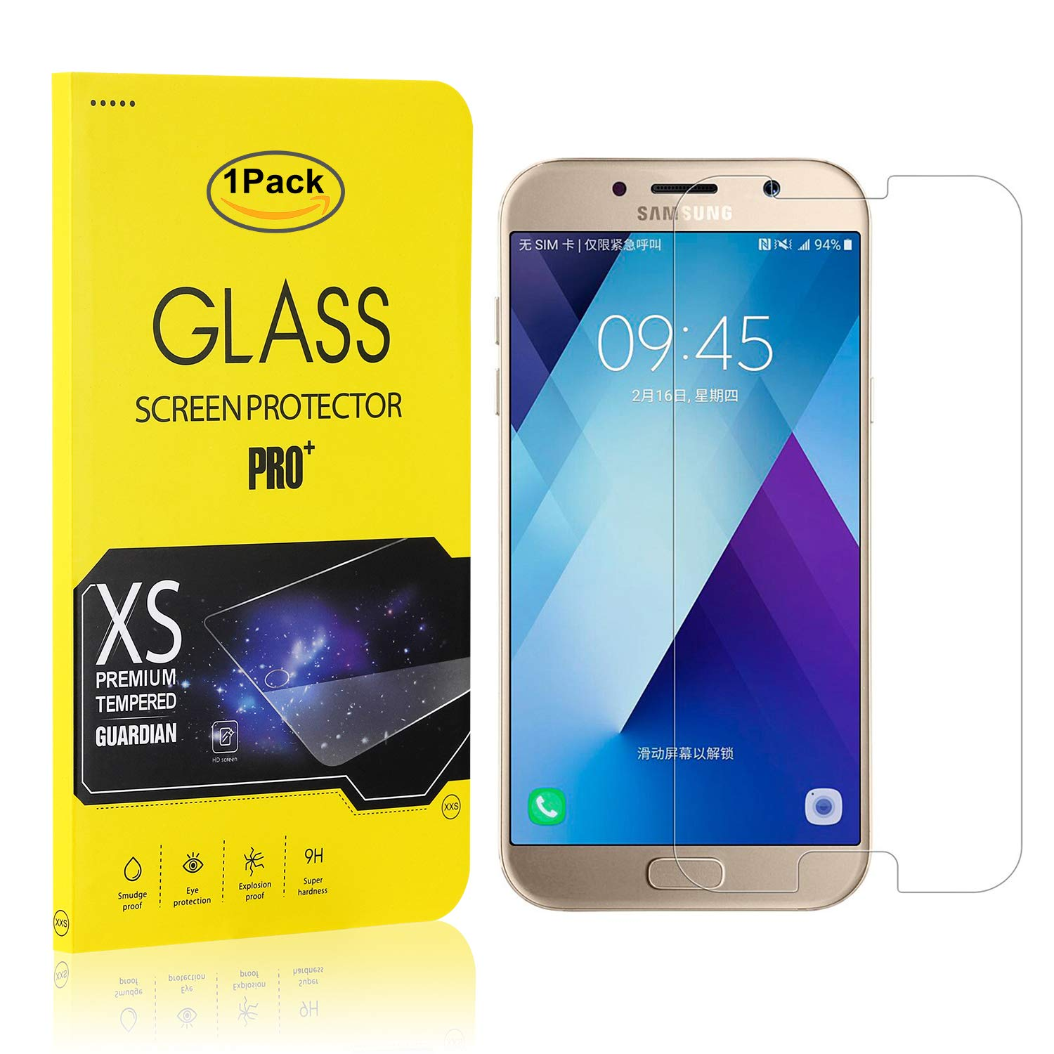 Bubble Free 1 Pack Easy Installation Galaxy A5 2017 Tempered Glass Screen Protector The Grafu High Transparency Screen Protector for Samsung Galaxy A5 2017
