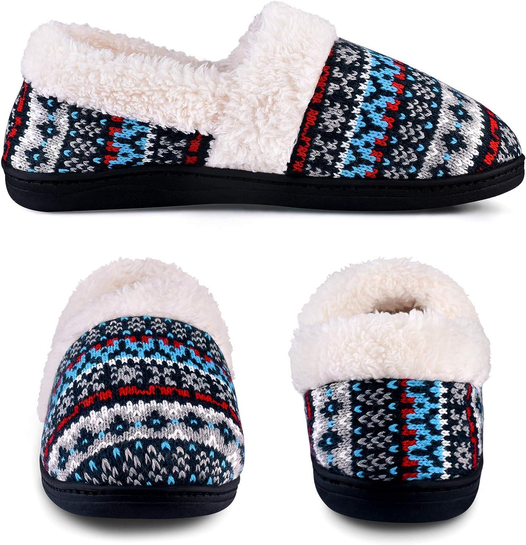 Ohbiger Womens 3D Cat Slip-On Knit Slippers Memory Foam Slippers Fuzzy Wool-Like Plush Fleece Lined House Shoes Anti-Skid Rubber Sole