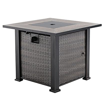 Nuu Garden Outdoor Patio LP Propane 30 Inch Square Gas Fire Pit Table  AF001, 50,000