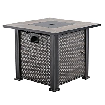 Amazoncom Nuu Garden Outdoor Patio LP Inch Square Gas Fire Pit - 30 inch fire pit table