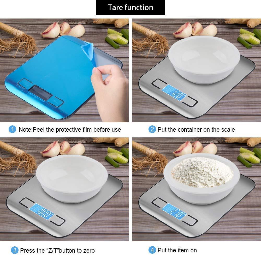 funci/ón de Tara balanza de Cocina Digital de Alta precisi/ón 5 kg // 11 LB retroiluminaci/ón LCD balanza electr/ónica de precisi/ón de Cocina Apagado autom/ático BIONOCT Balanza de Cocina