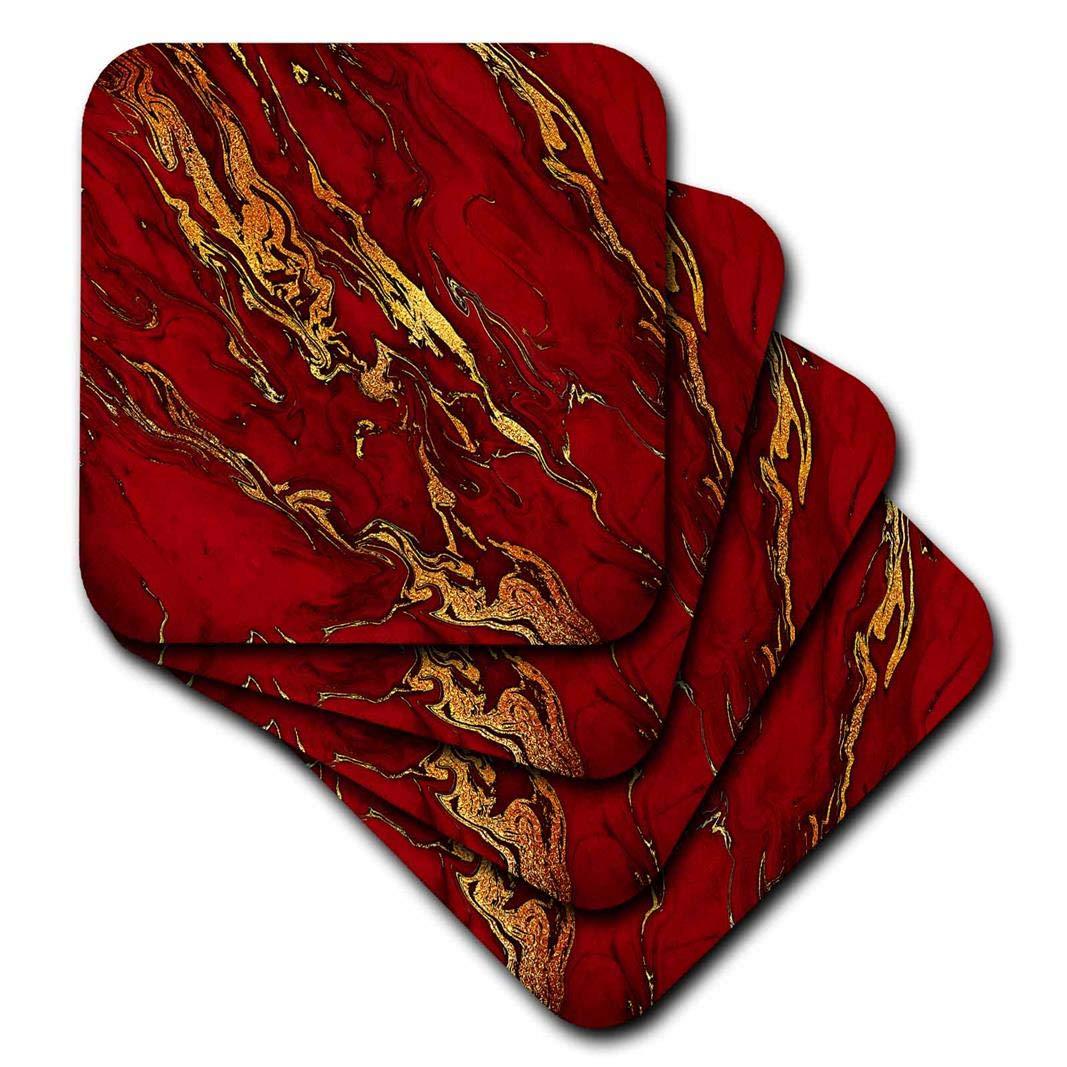 Set of 4 3dRose cst/_268833/_3Luxury Red Gold Gem Stone Marble Glitter Metallic Faux Print Ceramic Tile Coasters