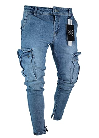 Men Jean Lovey Punk Ripped If Slim Denim Straight Pants Pocket Side OPkZXTwui
