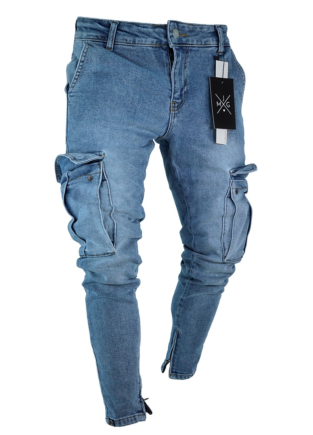 If Lovey Men Straight Slim Side Pocket Denim Jean Pants Punk Ripped Skinny Trousers (L, Blue)