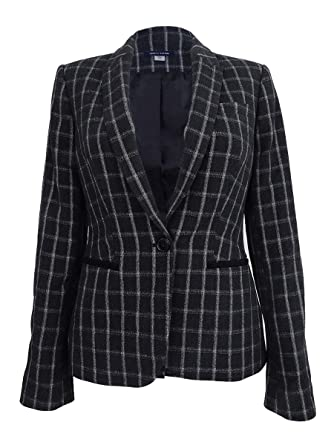 b3fff8ed Tommy Hilfiger Women's Single Button Jacket (0, Black Combo) at ...