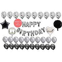 Globos de cumpleaños Plata Negro Plateado Silver | Paquete 35 Piezas Globos Letrero Happy Birthday | Globos Metálicos Latex Confeti | Fiesta