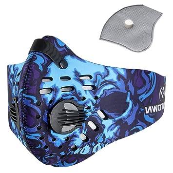 Pioneeryao Máscara Antipolución Máscara para Ciclismo Filtro de Aire mascarilla de polvo Máscara Ciclismo contra Polvo