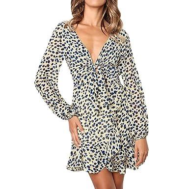 Mini Vestido SUNNSEAN Cuello de Pico para Mujer, Vestido de Fiesta Estampado de Leopardo con