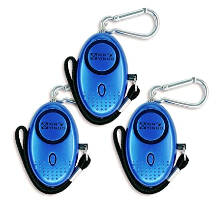 Xinyinuo 3 Pack Blue Mini Loud Personal Staff Panic Rape Attack Safety Security Keyring Keychain Alarm with Torch 140DB