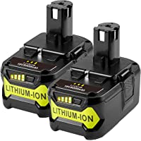 2Pack 18V 5000 mAh Rechargeable Battery for Ryobi ONE+ Tool P102 P103 P104 P105 P106 P107 P108 Power Tool with LED…