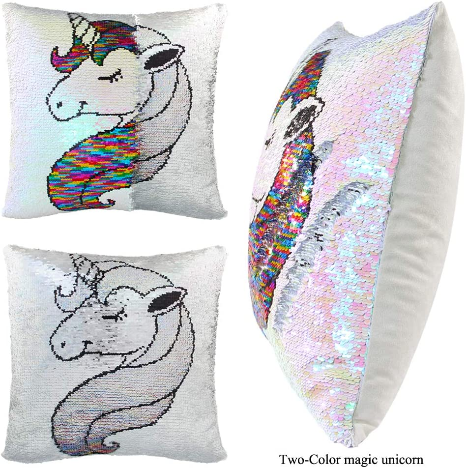 Rainbow Unicorn with Insert Magic Reversible Sequin Pillow Two-Color Changing Sequins Cushion Covers for Home D/écor 40x40cm ICOSY Mermaid Sequin Pillow with Insert