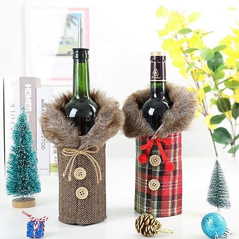 Zqqian Set di 2 copribottiglie di vino rosso e Natale per la decorazione della casa del tavolo da cena per le feste di Natale