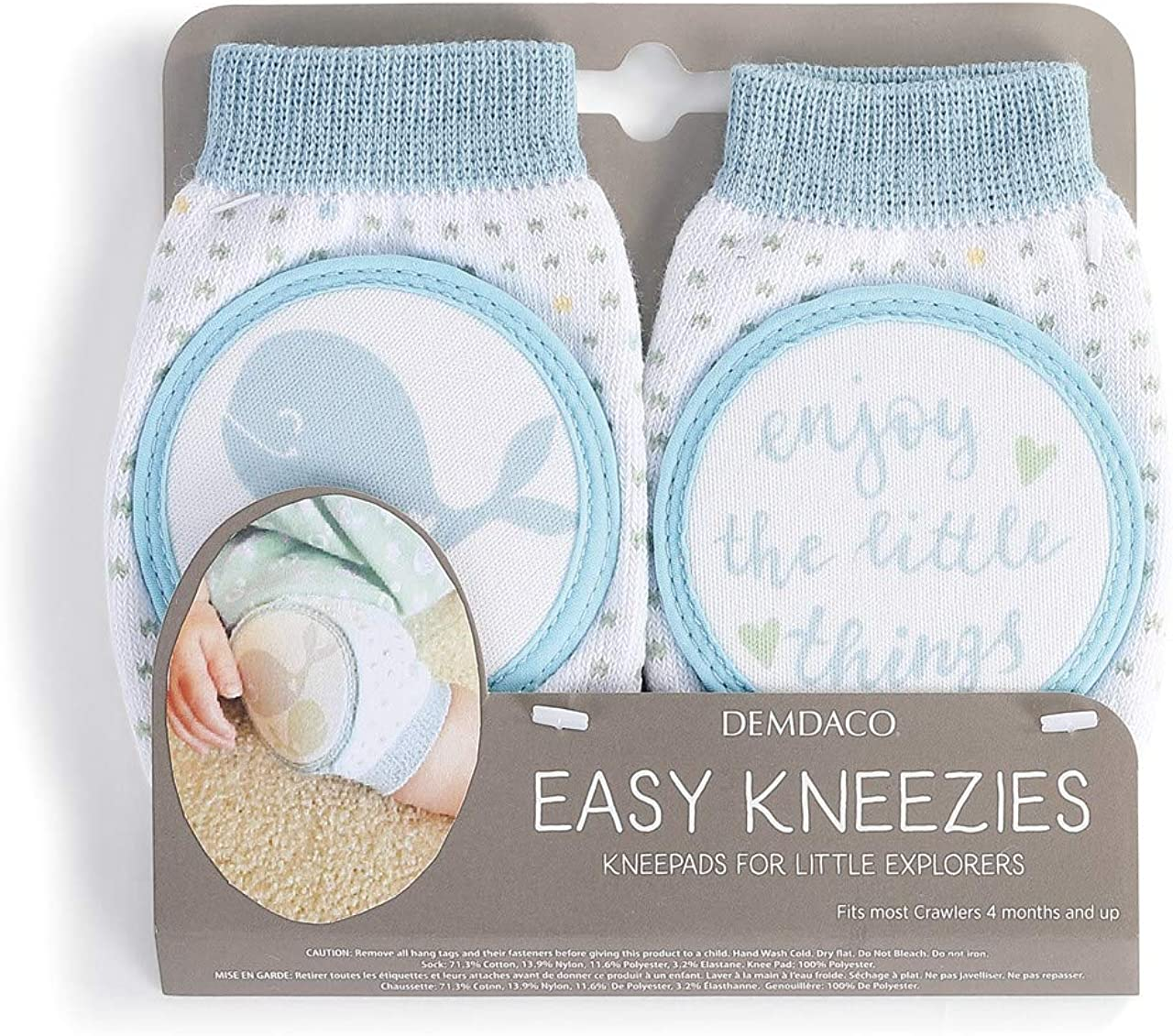 Enjoy The Little Things Whale Soft Blue 5 x 3 Cotton Fabric Kneezie Infant Socks