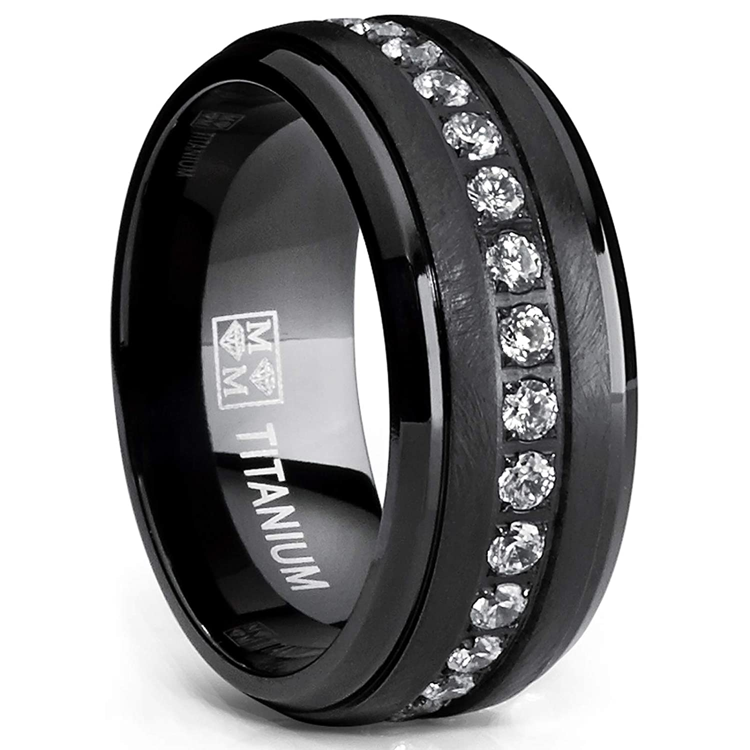 Ultimate Metals Co. ® Black Titanium Men's Eternity Wedding Band Ring with Clear Round Cubic Zirconia 9mm