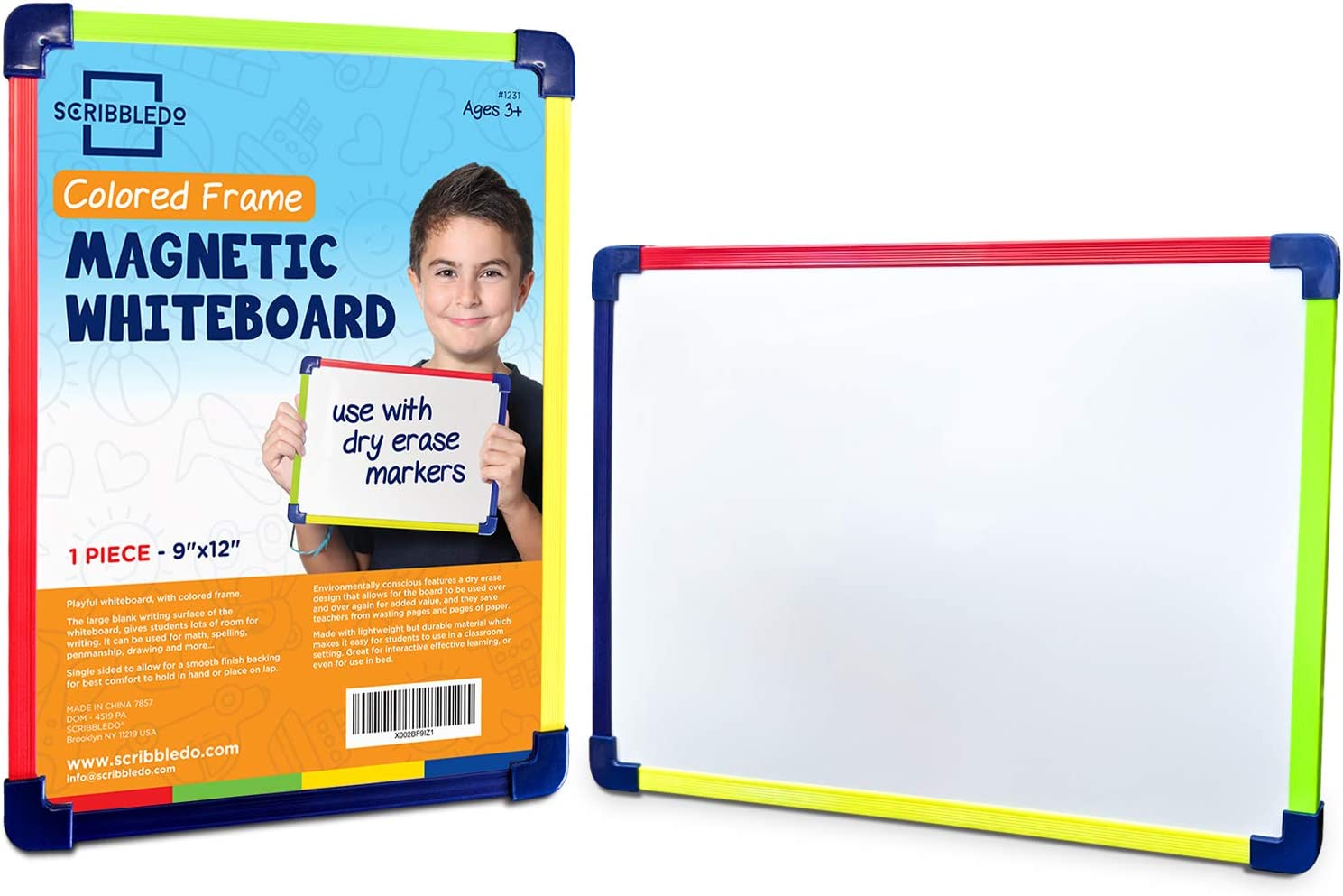 "Scribbledo Colored Frame Magnetic Dry Erase White Board 9"" X 12"" Whiteboard (Does Not Connect to Fridge)"