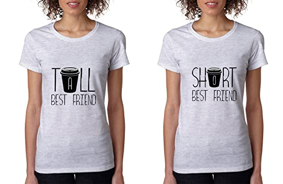 Allntrends Set Of 2 Women s T Shirt Tall Short Best Friend Matching ... 6c027610dd