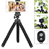 Aureday Compatible Phone Tripod, Cell Phone Stand Holder with Wireless Remote and Universal Clip, Flexible Tripod for Smartphone, Gopro, Point-and Shoot Camera(Upgraded)