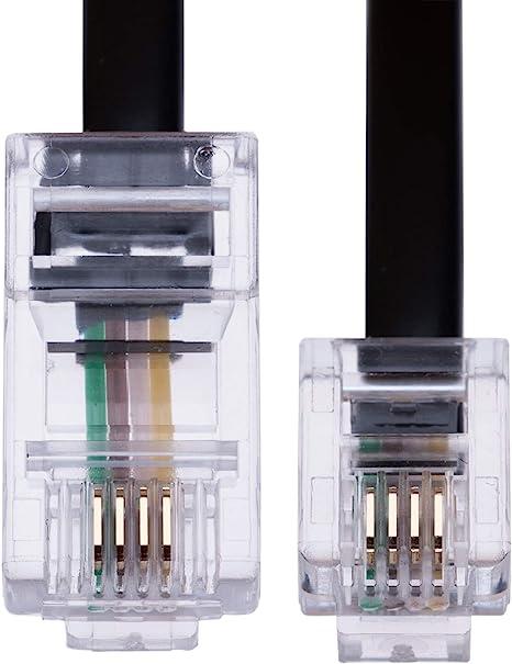 Router Noir Fil Fixe 2m RJ11 /à RJ45 C/âble Ethernet Modem Data T/él/éphone ADSL Patch Lead Large Bande Haute Vitesse BT linternet 6P4C /à 8P8C Rallonge Compatible avec Modem