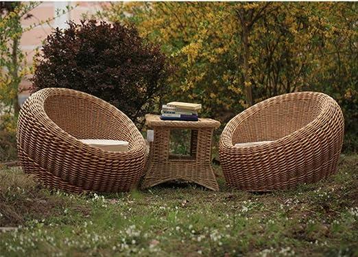 TRAACEM Conjunto De Muebles De Terraza Porche 3 Piezas Silla De Mimbre De Ratán PE Muebles De Jardín Al Aire Libre con Mesa: Amazon.es: Hogar