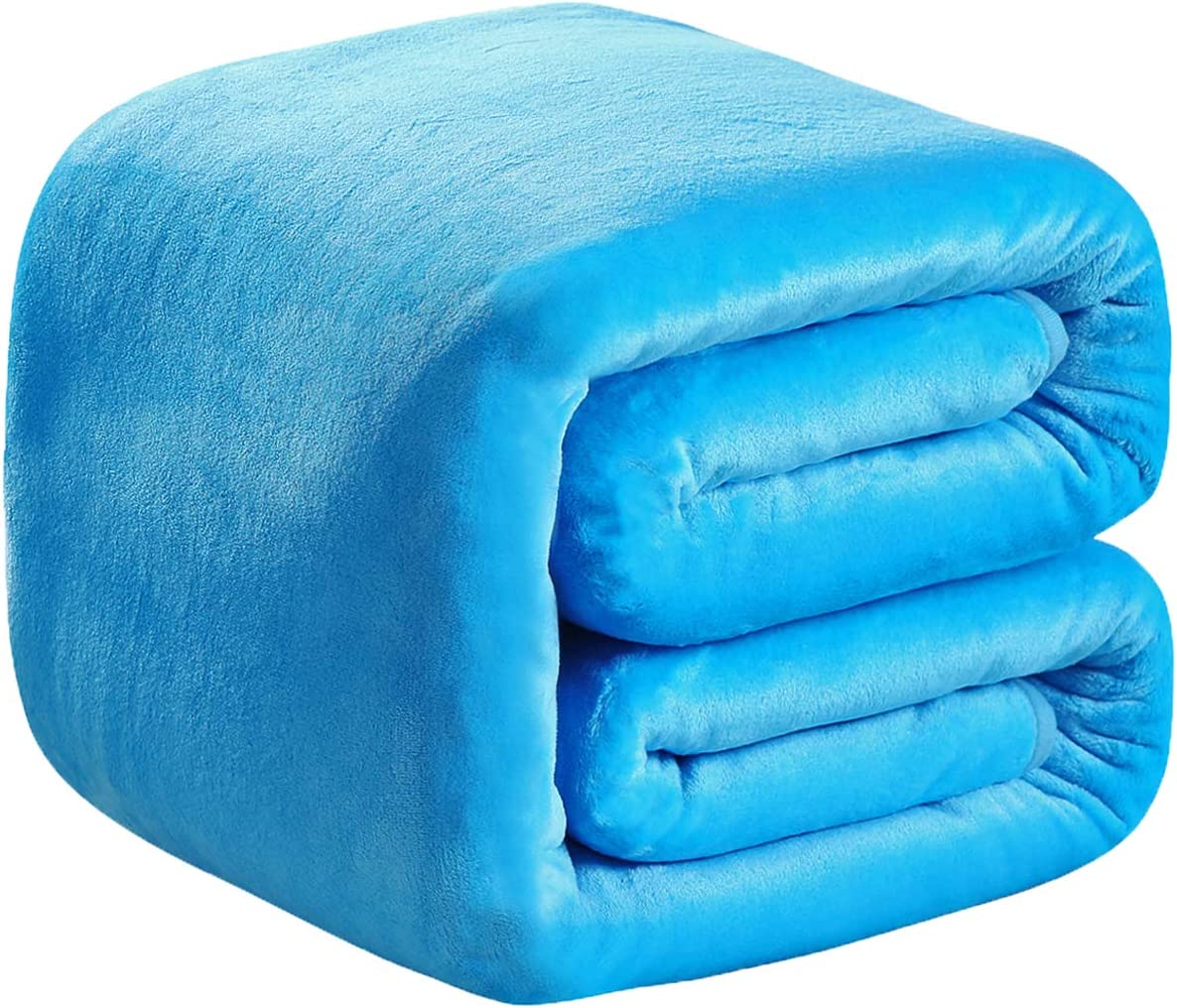 "Richave Polar Fleece Blankets Queen Size Light Blue for The Bed Extra Soft Brush Fabric Super Warm Sofa Blanket 90"" x 90""(Lake Blue Queen)"