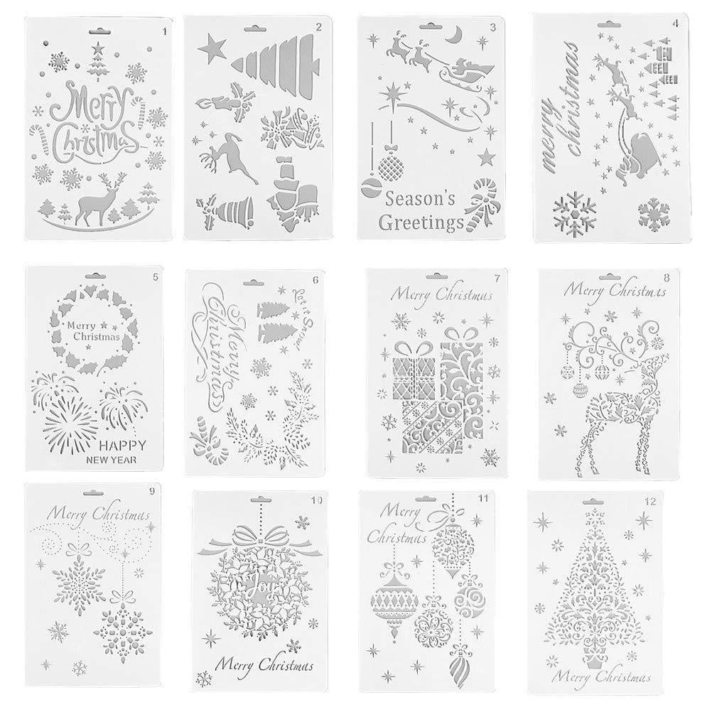Gshy Pittura Stile Natalizio diario Scrapbooking Modello Riutilizzabile 12 Pezzi Stencil per Disegno Fai da Te per Bambini