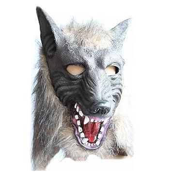 Vococal Máscara de Cabeza de Lobo de Latex para Halloween Carnaval Navidad Cosplay Traje Fiesta Decoración
