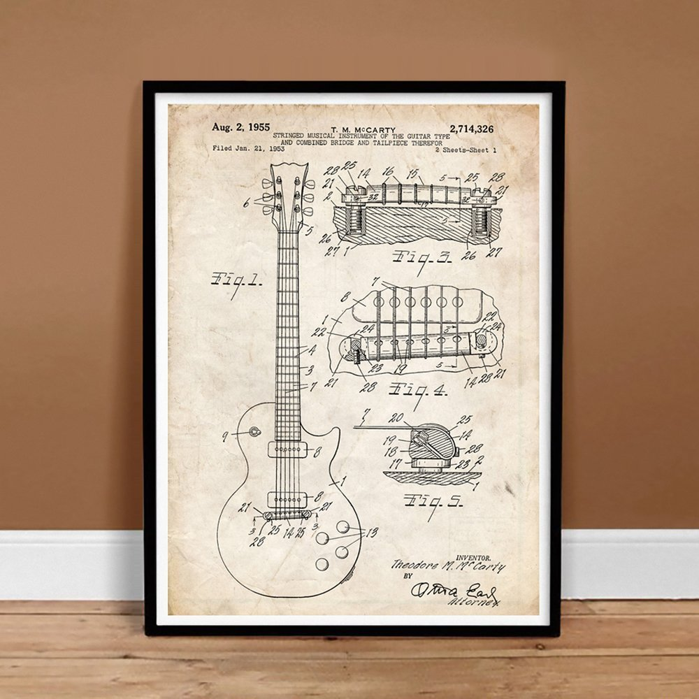 Gibson Les Paul Guitar Poster 1955 Patent Art Print 85 Diagram Motorcycle Engine X 11 Posters Prints