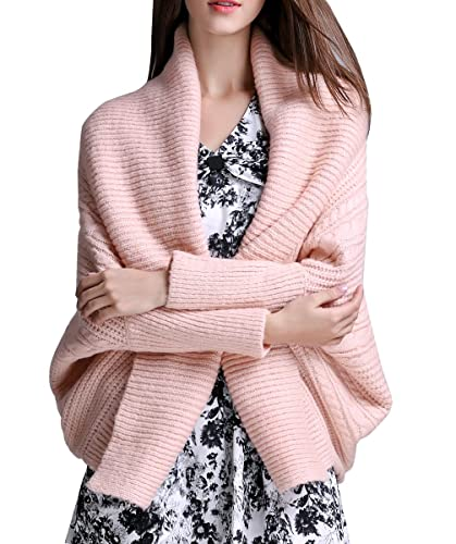 ELLAZHU mujeres de moda Turndown gran cuello de color puro chaqueta corta chaqueta de punto YY37 rosa S