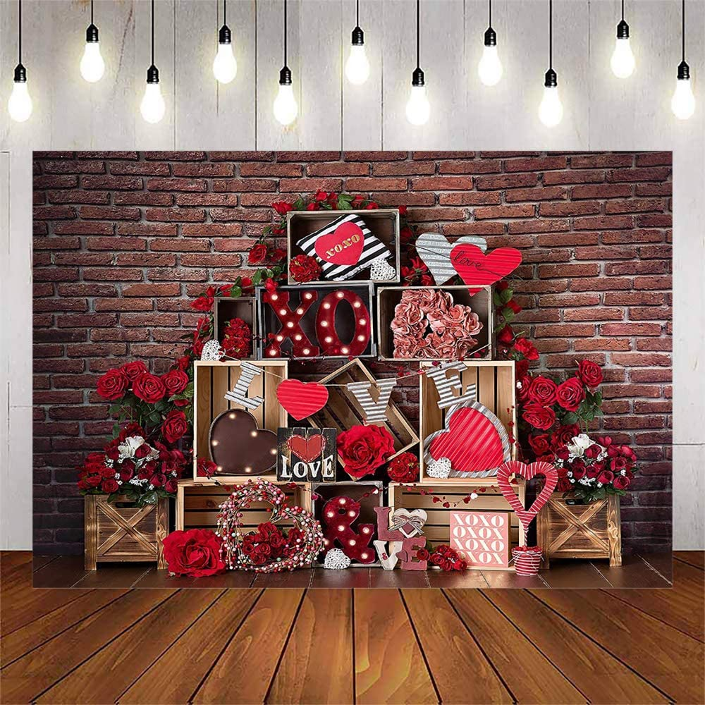 Avezano Valentine's Day Retro Brick Wall Backdrop for Photography Props Red Rose Flowers Love Heart Decor Photo Booth Background Studio (7x5ft)