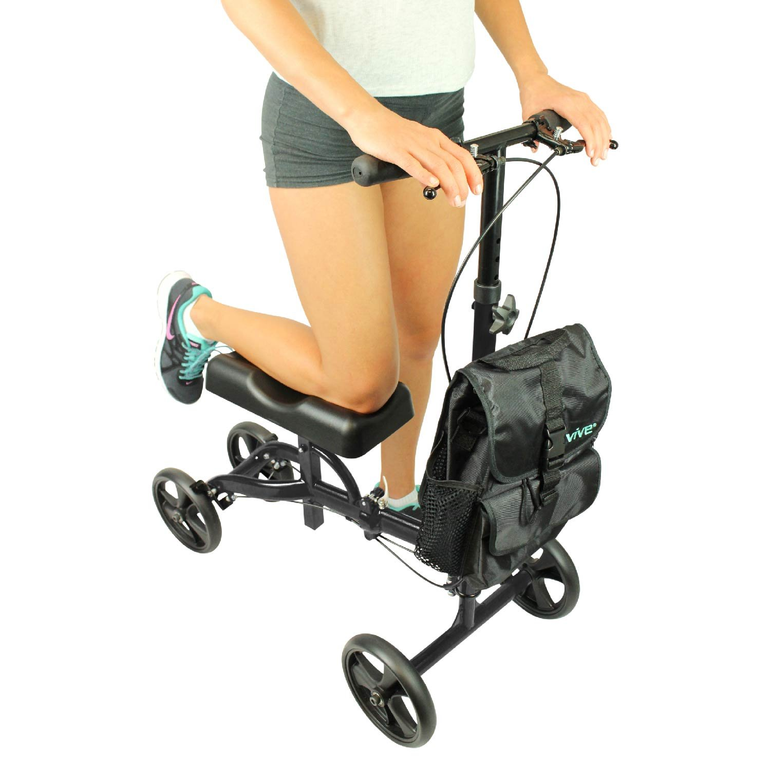 Knee Scooter by Vive [Bag Included] - Steerable Knee Walker for Broken Leg & Foot - Medical Alternative to Crutches - Kneeling Roller Cart w/ Pad for Senior & Elderly Mobility