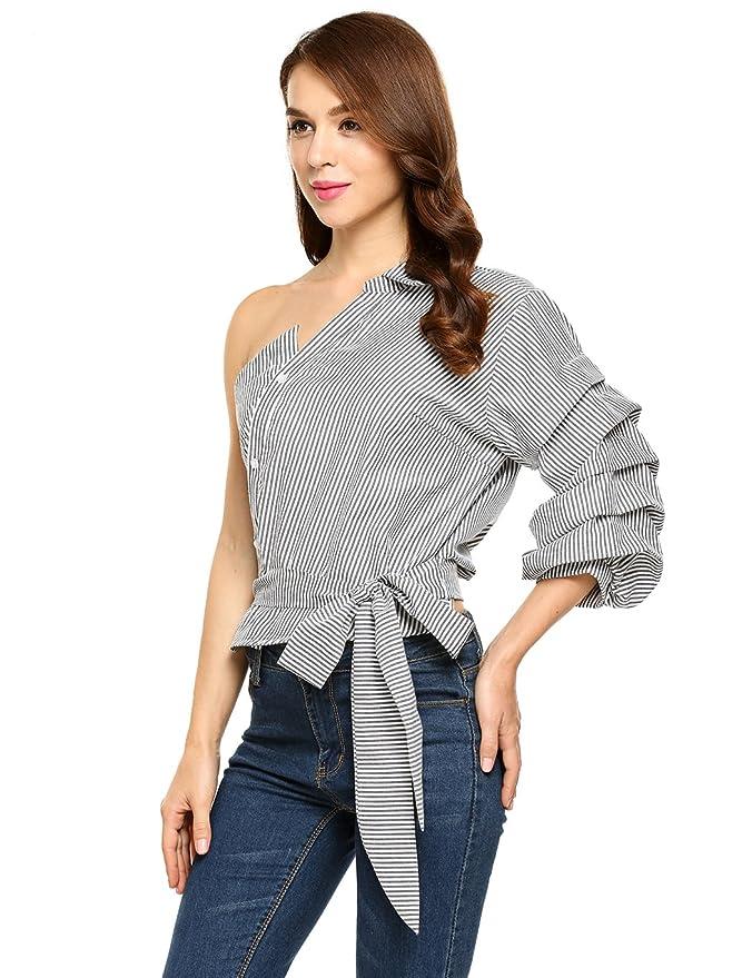 5c0669b7d4de22 BLUETIME Women s One Shoulder Striped Shirt Casual Blouse Side Tie Puff  Sleeve Plus Size at Amazon Women s Clothing store
